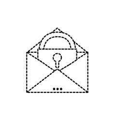 dotted shape e-mail mesage with padlock insite to vector image