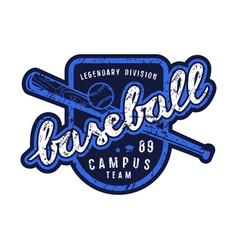 emblem of campus baseball team vector image
