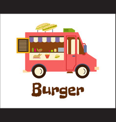 fast food trailer with burger isolated on white vector image