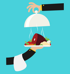Flat with hot cooked meat vector