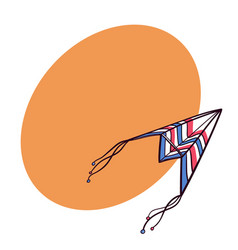 Flying paper plane doodle kite with space for text vector