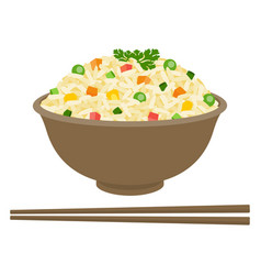 Fried rice in bowl with chopsticks vector