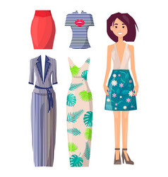 girl in skirt with flower print and spare clothes vector image