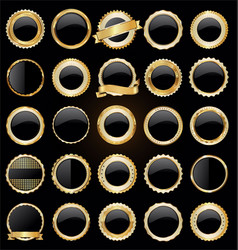 Gold and black retro sale badges and labels vector