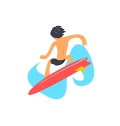 Guy On Red Surfboard From Behind vector