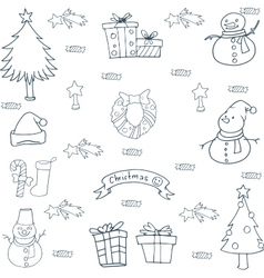 Hand draw christmas element set doodle vector