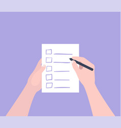 Hand holding filling form checklist to do list vector