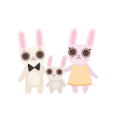 happy family bunnies father mother and baby vector image