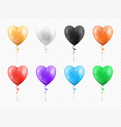heart shape balloons isolated party decor objects vector image