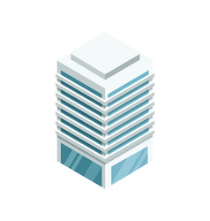 High building with shiny glass facade icon vector
