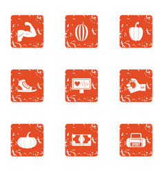 Hobby icons set grunge style vector