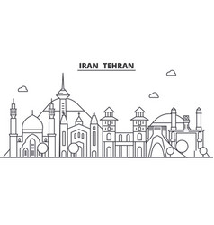 Iran tehran architecture line skyline vector