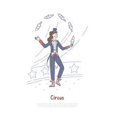 Juggler performing professional actor in circus vector