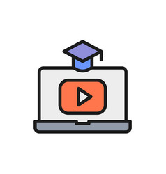 laptop with play button educational video online vector image