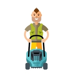Lawnmower Man with lawn mower Flat style vector image
