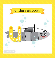 Letter u lowercase tracing underseaboat vector
