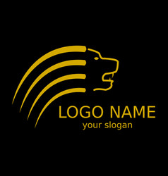 logo of a yellow lion on a black background vector image