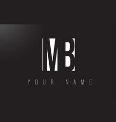 Mb letter logo with black and white negative vector