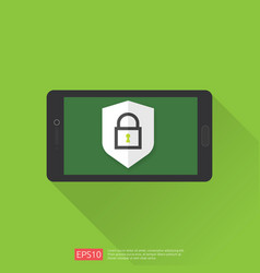 Mobile phone with shield padlock protection sign vector