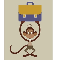 monkey with a briefcase vector image