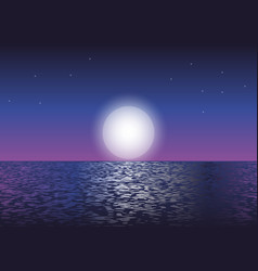 Moonlight at the ocean vector