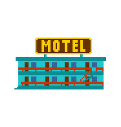 Motel pixel art small hotel 8 bit vector