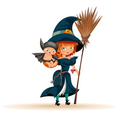 Mother with son in halloween costume flat poster vector