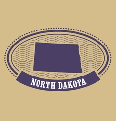 North dakota map silhouette - oval stamp of state vector