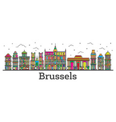 Outline brussels belgium city skyline with color vector