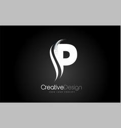 P letter design brush paint stroke on black vector