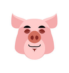 Pig sleeping emoji piggy asleepl emotion on white vector