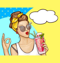 pop art girl drinks cocktail and shows sign ok vector image