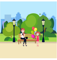Public urban park woman sitting wooden bench girl vector
