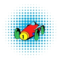 Racing car icon comics style vector image