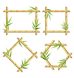 Realistic 3d detailed bamboo shoots frames set vector