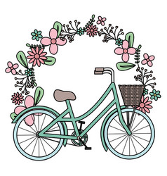 Retro bicycle with basket and floral decoration vector