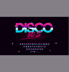 Retrowave synthwave font in 1980s style vector