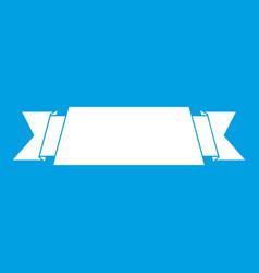 Ribbon banner icon white vector