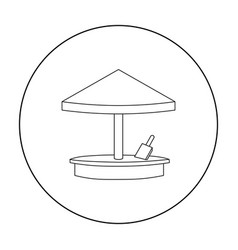 sandbox icon in outline style isolated on white vector image