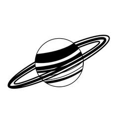 Saturn planet milky way galaxy in black and white vector