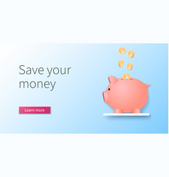 save your money in 3d style vector image