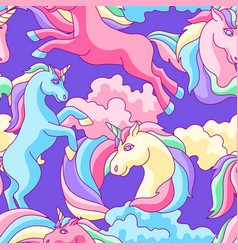 seamless pattern with unicorns clouds and vector image