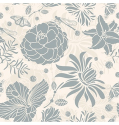 seamless retro floral vector image