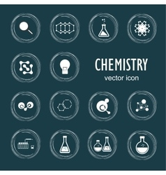 Set icons in chemistry biology medicine vector