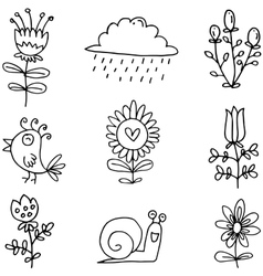 Set of spring item doodles vector