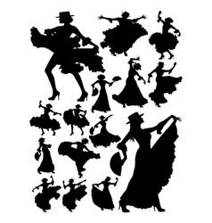 silhouette beautiful woman dancing flamenco vector image