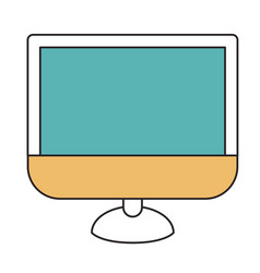 silhouette color sections of lcd monitor vector image