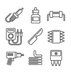 solder icons set on white background line style vector image