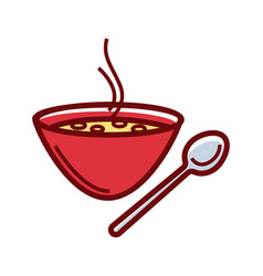 Soup bowl and spoon vector