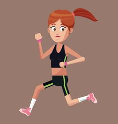 sport girl running exercise vector image